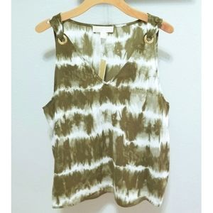 Michael Kors Green Tie Dye SleevelessTank Top